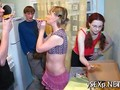 Two teen girlfriends try something kinky out with a foursome