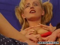 Blonde amateur girlfriend home threesome with facials