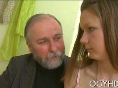 Small tits sweetheart gets seduced by fat old man into fucking