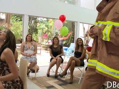 Firefighter stripper getting sucked at a bachelorette party by amateur girls