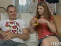 Teen hottie pinned down and fucked froggy style on couch