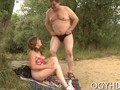 Fat old guy fucks teen on the beach while her boyfriend watches
