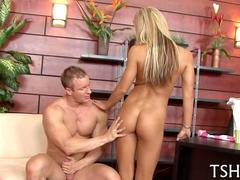 very skinny and hot blonde babe fucking a muscly hunk