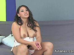 Asian porn star with futanari cock cumming all over the floor solo