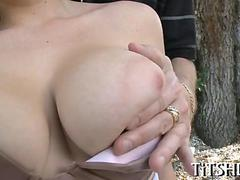 Big tits blonde gets groped and stripped for hot fuck session