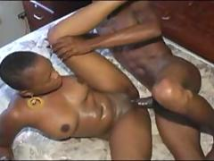 African beauty with short hair conquering huge dick
