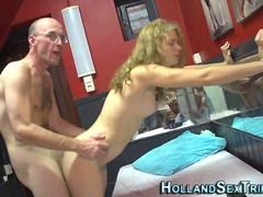 Curly blonde honey gets fucked for cash in hotel