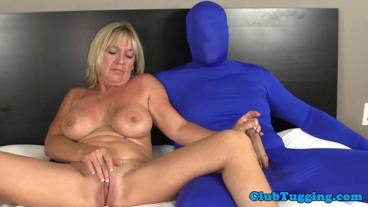 Masturbating milf tugging gimps hard cock