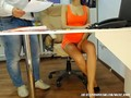 Secretary in tight orange dress getting caught on security camera