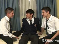 cute college boys kiss and eat meat in a threesome segment
