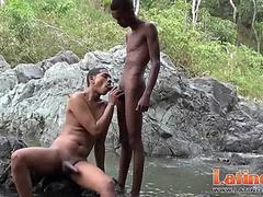 Nude Latin twinks pop a boner having wet oral fun