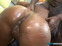 Doggystyled bigbooty Ebony skank cumswallows