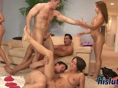 Hot orgy action with some delicious babes