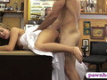 Girl in wedding dress nailed by pawn man at the pawnshop