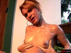 Small titted blonde tgirl finger fucks her phat lotioned ass