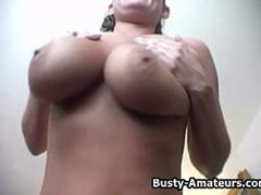 Busty Lesley on hot masturbation