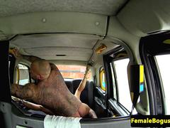 Busty british cabbie cockriding on backseat