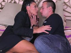 Brunette mature with saggy tits gets jizzed on