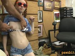 Skinny redhead babe nailed by pawn man at the pawnshop