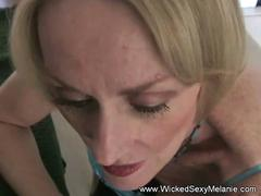 Horny granny is feeling ready to blow that stiff member and then to get it between her legs by her lover in pov