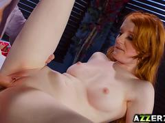 Redhead student Krystal Orchid bangs with a hot prof
