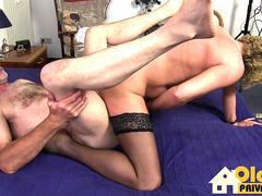 German granny really knows how to swallow that stiff cock and get it between her sexy legs in different poses from this stud