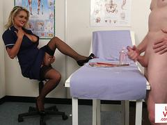 English voyeur nurse instructing guy to tug