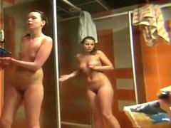 Teens washing pussies in public shower room