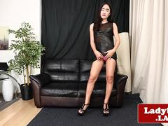 Asian tgirl solo spreading ass for the camera
