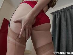 Honour May intimate and horny at friends place teasing masturbating in lingerie heels and stockings