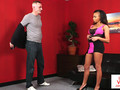 Ebony voyeur instructs guy until he cums