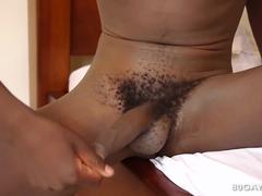 African Twink Kevin Stroking Big Cock