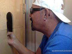 Latino Delivers Big Load At The Gloryhole