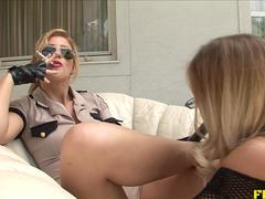Threesome with FemDom and Submissive Blonde