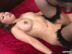 Stockinged Japanese pet girl gets roughly nailed on the bed