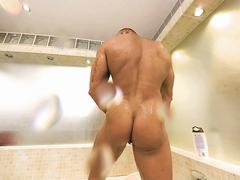 Gay VR PORN - Bald sexy Thomas Masturbates in the shower