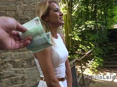 Blonde anal fucked outdoor pov for money