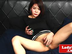 Busty asian tgirl with round booty solo play