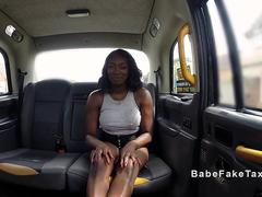 Female cab driver eats ebony stripper