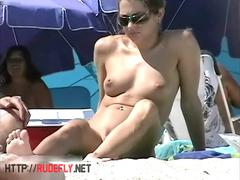 Appealing chicks caught on a hidden nudist beach