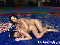 Busty wrestling lesbian gets pussy fingered