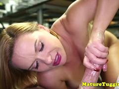Office stepmom wanks cock till cum POV