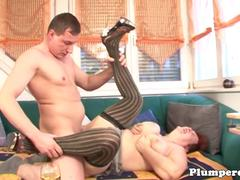Stockinged ginger bbw plowed with cock