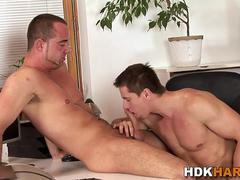 Gay hunk riding cock raw