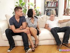 Bisex European couple share cock