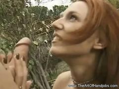 Outdoor Jerk Job Teen Neighbor making a guy big cock hard and  big