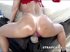 Big booty latina love to ride dildo on webcam