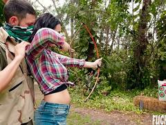 Sidney Alexis In Archery Lesson In Jungle