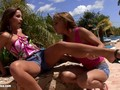 Very beautiful Kissy and Nevena have outdoors fun on Sapphic Erotica
