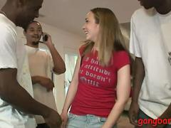 Sweet woman Jamie Elle double penetrated by black cocks